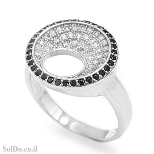 טבעת מכסף משובצת אבני זרקון שחורות ולבנות RG6060 | תכשיטי כסף | טבעות כסף