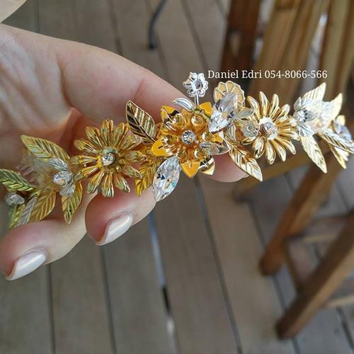 קשת פרחים ועלים- זהב כסף