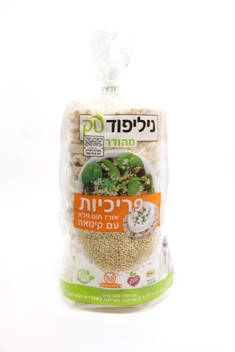 פריכיות אורז חום מלא עם קינואה