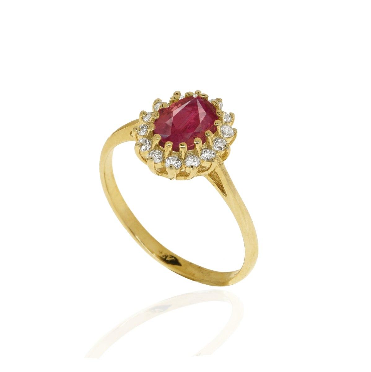 טבעת דיאנה אבן רובי  1 קראט ויהלומים 0.26 קראט בזהב 14 קראט │ טבעת עם רובי