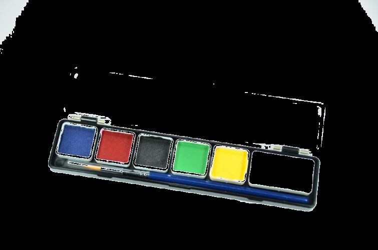 פלטה 6 צבעי מים בסיס + מכחול (24 גר')