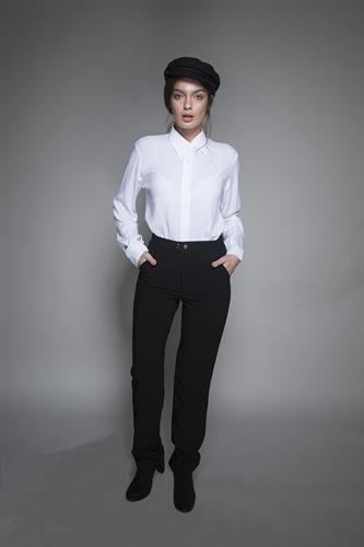 מכנס אלגנט בגזרה ישרה בצבע שחור