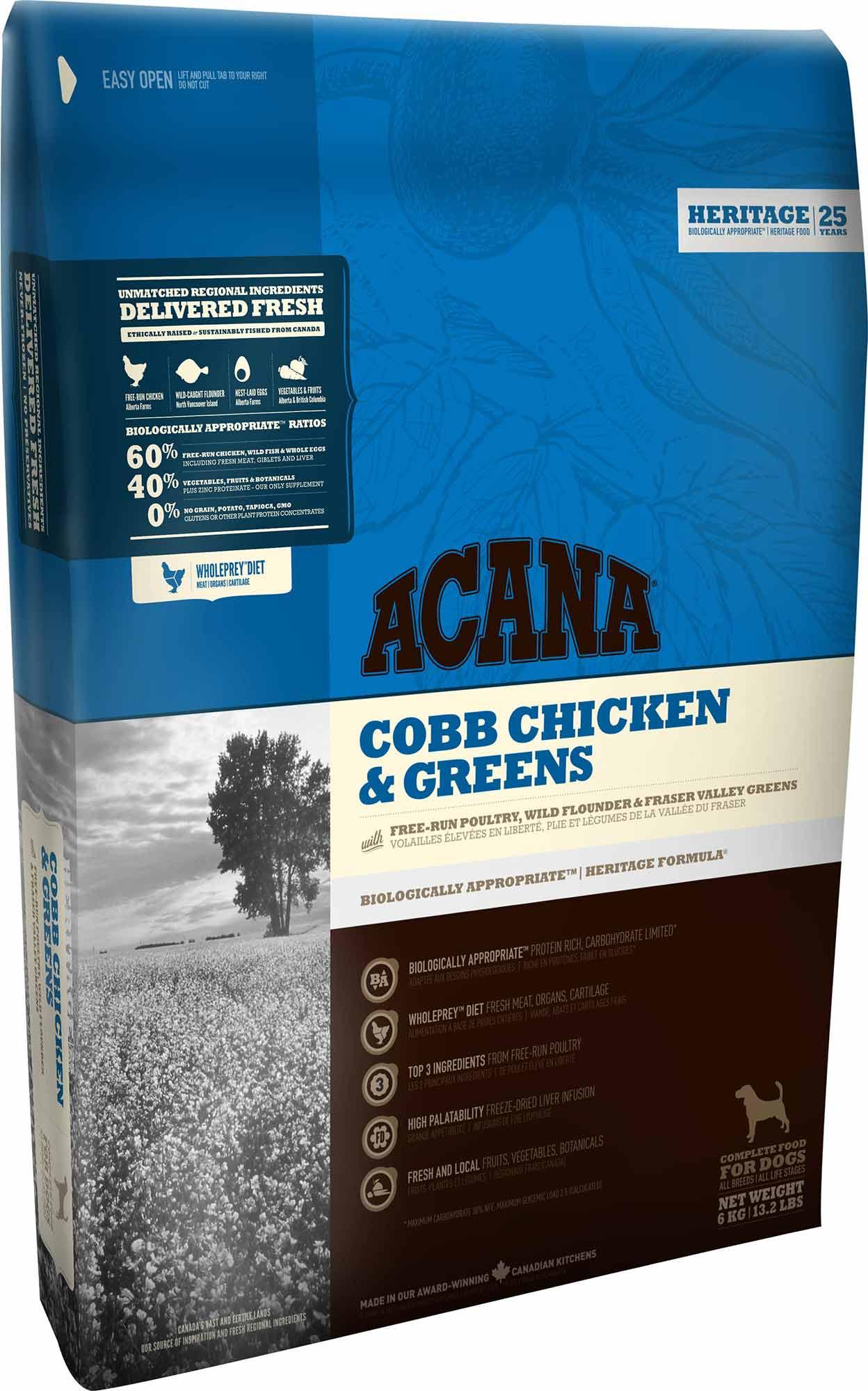 "acana cobb chicken & greens עוף וירקות 11.4 ק""ג"