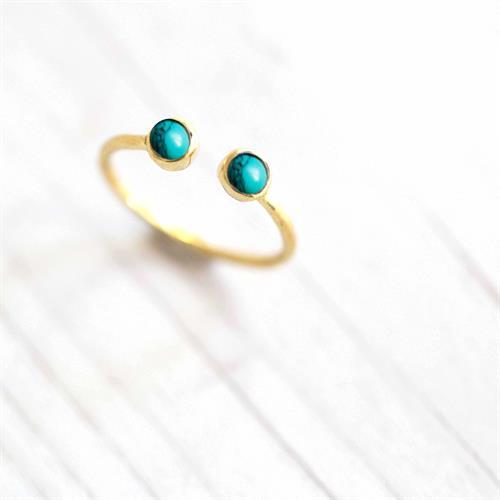 טבעת דקה אבן טורקיז פתוחה