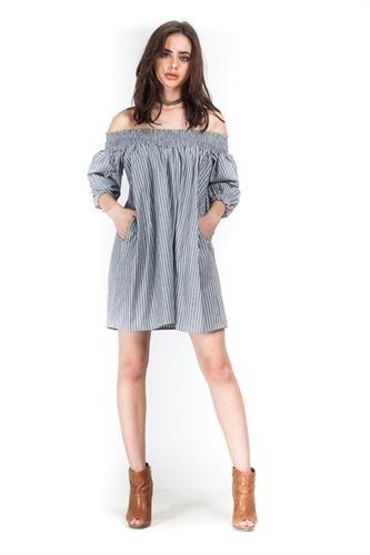 שמלת אלבינה פסים אפור