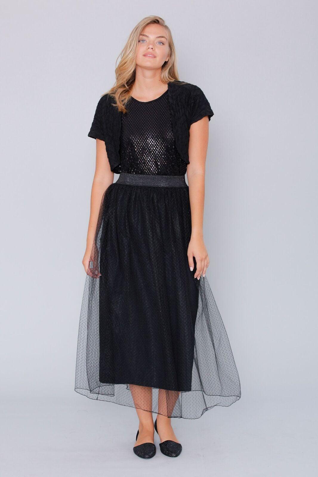 חצאית תחרה שחורה