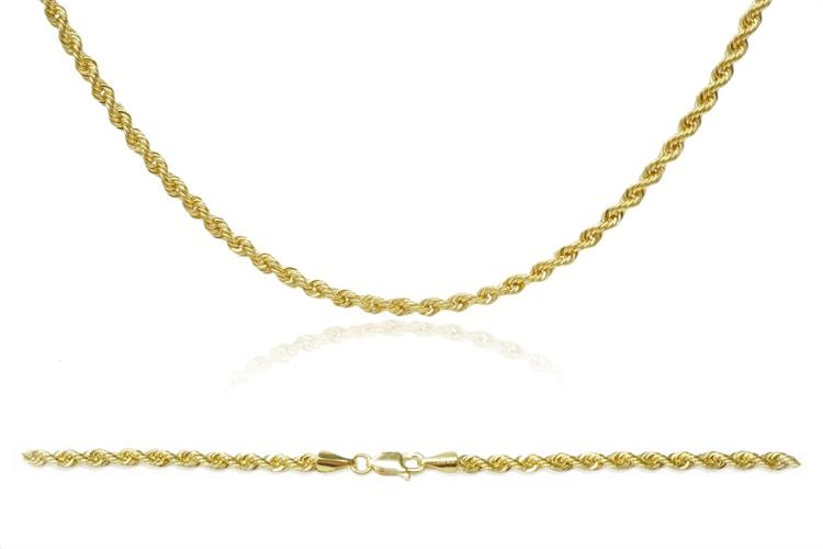שרשרת זהב חבל 2.6 ממ|שרשרת זהב חבל לאישה| 14 קרט