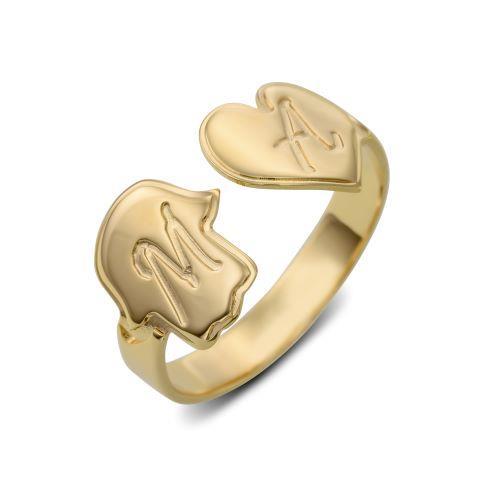 טבעת פתוחה עם חמסה ולב כסף 925/גולדפילד