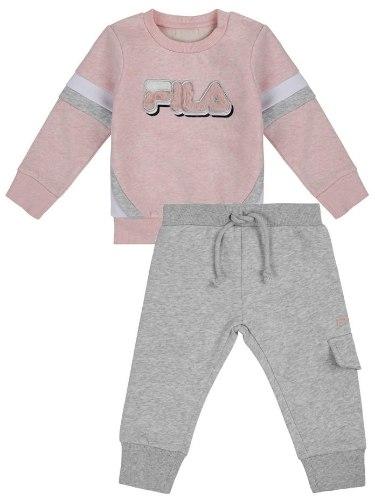חליפת פוטר אפור/ורוד FILA לוגו בולט - תינוקות  - מידות NB עד 24 חודשים