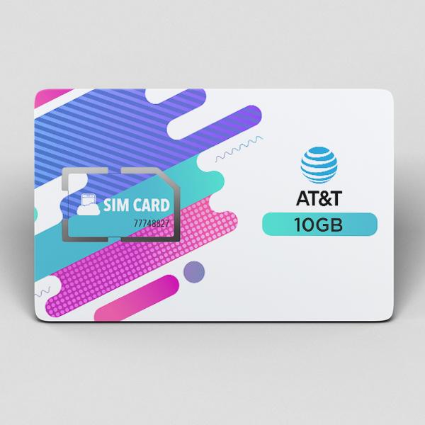 כרטיס סים 10 גיגה ברשת at&t