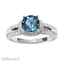 טבעת מכסף משובצת אבן טופז כחולה  וזרקונים RG1595 | תכשיטי כסף 925 | טבעות כסף