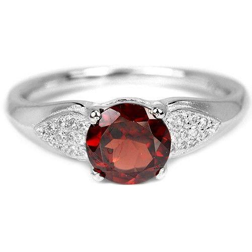 טבעת כסף משובצת גרנט אדום וזרקונים RG5585 | תכשיטי כסף | טבעות כסף