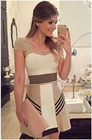שמלת מיני פסים אלגנטית חאקי
