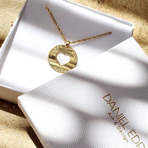 שרשרת מטבע לב חלול- ציפוי זהב