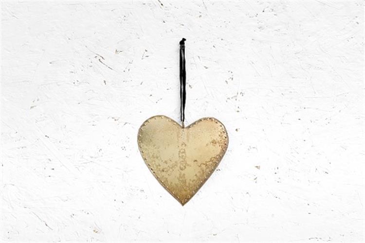 לב שטוח ממתכת - זהב (גודל L)