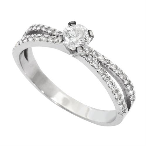 טבעת יהלומים מעוצבת 0.60 קראט בזהב 14 קאראט