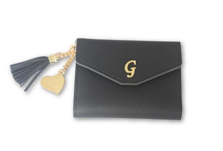 עותק של ארנק דמוי עור שחור עם אות גולדפילד ולב