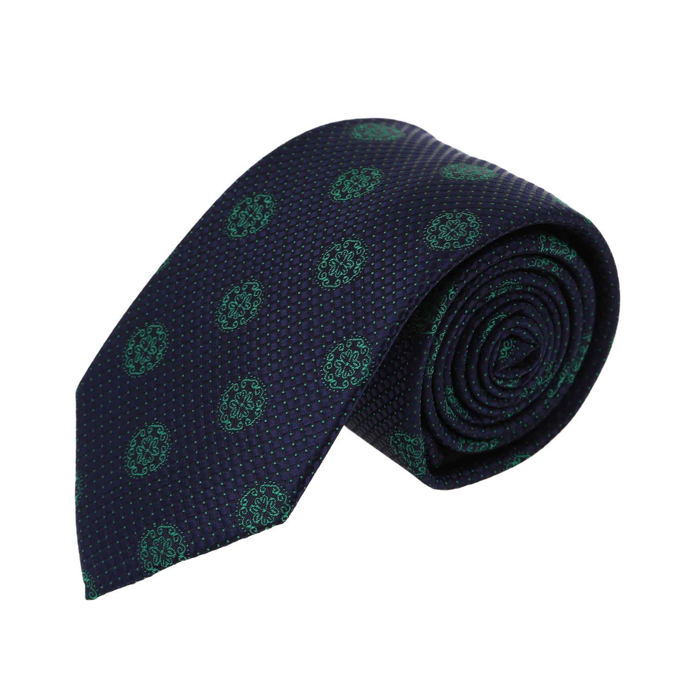 עניבה דגם פרח גדול כחול ירוק