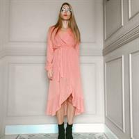 שמלת מעטפת אפרסק + מסכת JAPANESE PINK מתנה