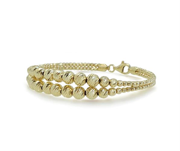 צמיד זהב קשיח כדורים לאישה| צמיד מהמם מלא נצנוץ