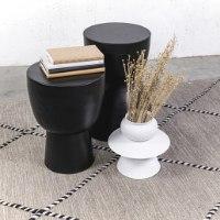 שולחן צד שחור עשוי מתכת (מעוגל)
