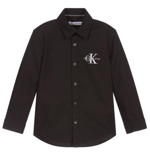 חולצה שחורה מכופתרת - Calvin Klein - מידות 4 עד 16 שנים