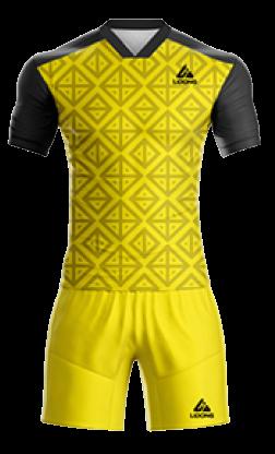 חליפת כדורגל שחור צהוב משבצות