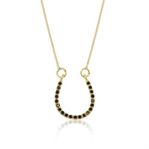 שרשרת פרסה זהב 14 קרט משובצת יהלומים שחורים 0.20 קראט יהלומים