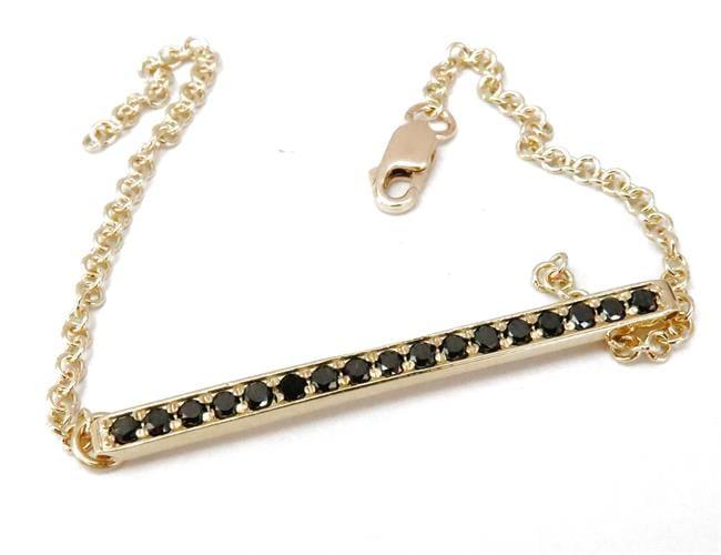 צמיד יד לאישה פס משובץ יהלומים בזהב 14 קרט