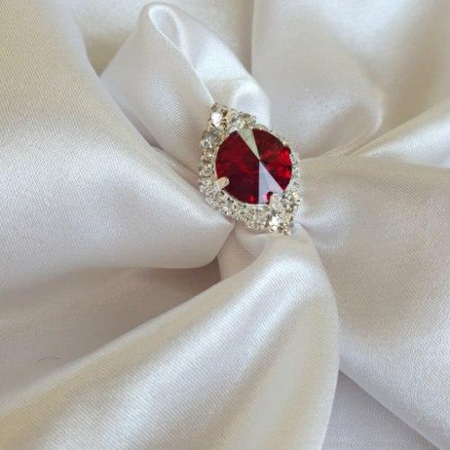 טבעת מלין- כסף בורדו