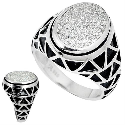 טבעת כסף לגבר משובצת זרקונים ואמייל שחור RG4145 | תכשיטי כסף | טבעות כסף