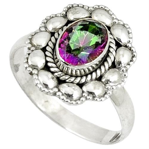 טבעת כסף משובצת מיסטיק טופז RG8093