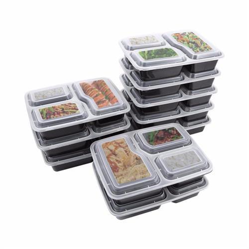 קופסאת אוכל מחולקת 3 תאים עמידה למיקרוגל