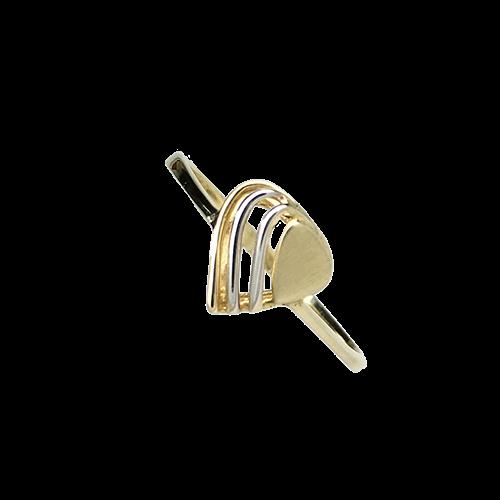 טבעת ילדות ונערות זהב צהוב ולבן 14K לב מרכזי OP01160020002