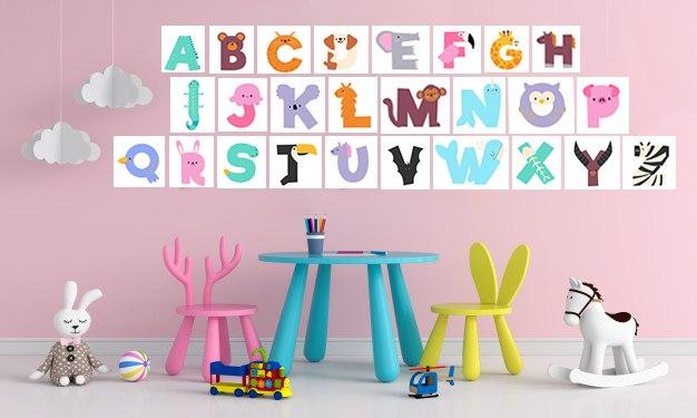 אותיות האנגלית לחדרי ילדים