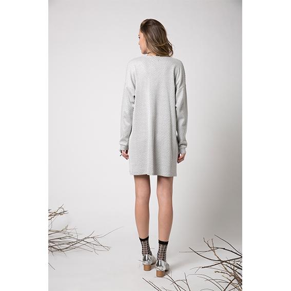 שמלת לוטוס אפור זיגזג עם שילוב בקדמי