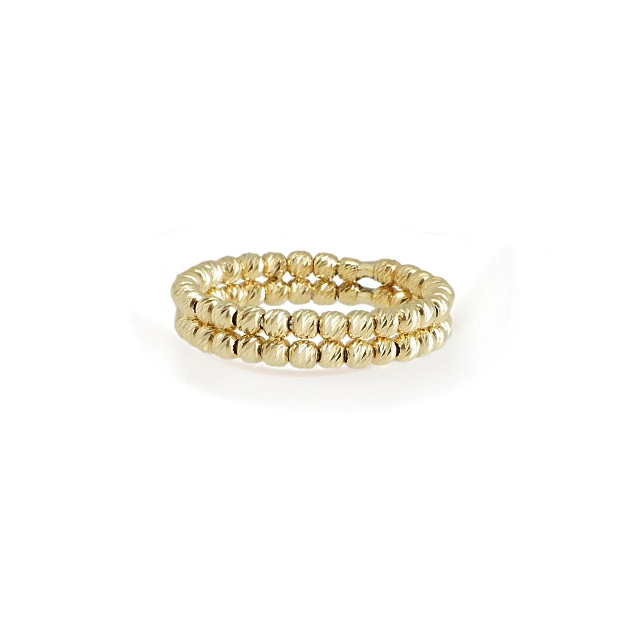טבעת זהב כדורים שתי שורות