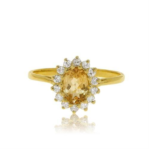 טבעת זהב 14 קרט משובת אבן חן סיטרין ויהלומים 0.25 קראט