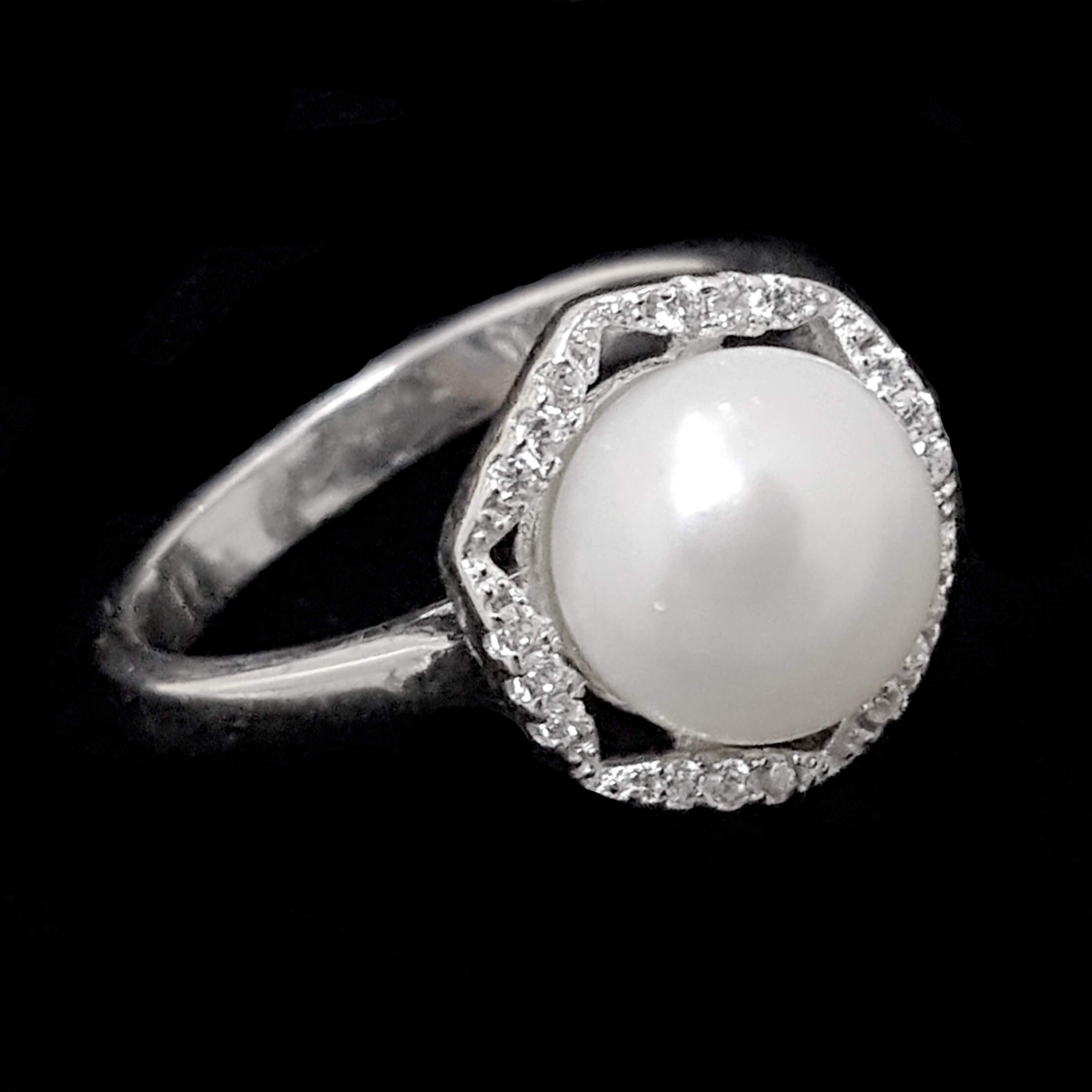 טבעת כסף משובצת פנינה לבנה וזרקונים RG6250 | תכשיטי כסף 925