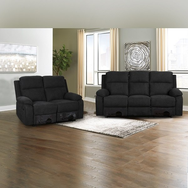 ספה 2+3 מושבים סיאסטה בד שחור