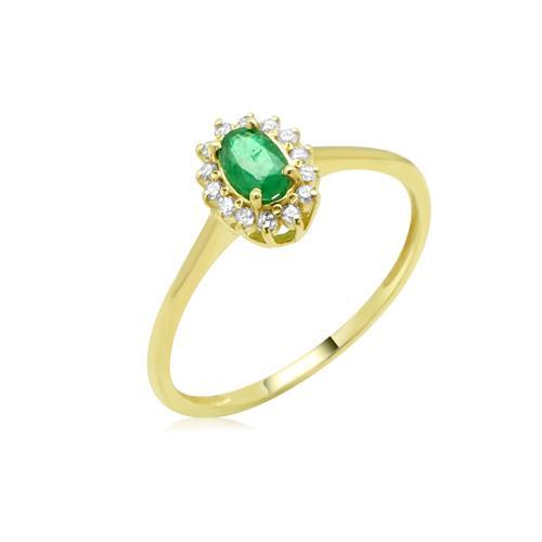 טבעת דיאנה אמרלד ויהלומים 0.10 קראט