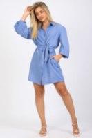 שמלת פישתן כפתורים כחול