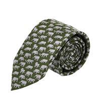 עניבה דגם פילים ירוק לבן