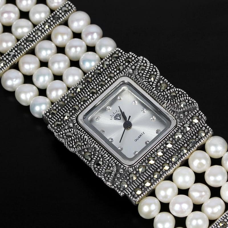 שעון כסף משובץ Marcasite ופנינים SH6102
