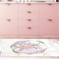 """שטיח פי וי סי למטבח """"פרחים וורודים""""  שטיח למטבח  שטיח פי וי סי   שטיח PVC   שטיחי פי וי סי מעוצבים"""