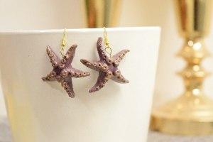 עגילי כוכב ים | עגילים תלויים | חימר פולימרי