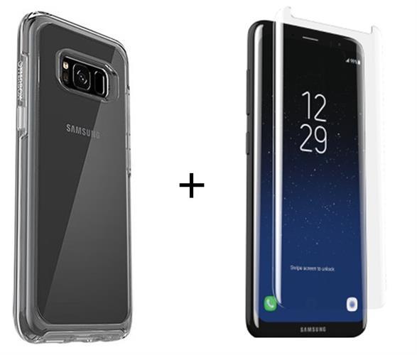 כיסוי לגלקסי + מגן מסך לסמסונג S8 Plus שקוף Otterbox symmetry Samsung galaxy + Alpha Glass!