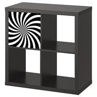 1 יח' טפט להדבקה על דלת כוורת (KALLAX)- ספירלה שחור לבן