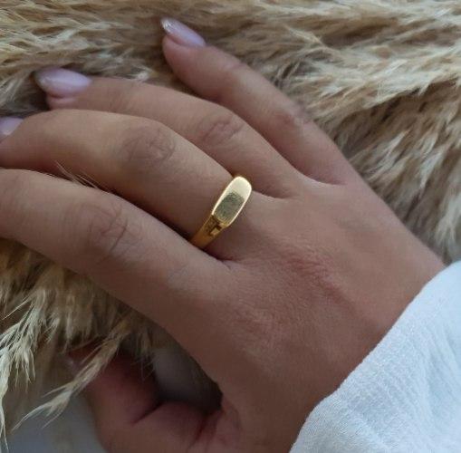 טבעת חותם מלבן זהב