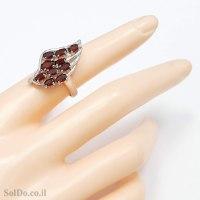 טבעת מכסף משובצת אבני גרנט RG6182 | תכשיטי כסף 925 | טבעות כסף